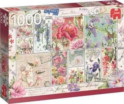 Bloemen Postzegels Puzzel Flower Stamps